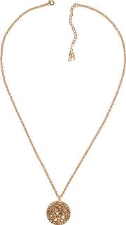 Metallic Large Pave Disc Necklace Created With Swarovski Crystals