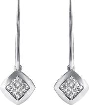 Square Pave Drop Earring Created With Swarovski Crystals