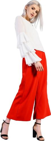 Red High Waisted Culottes