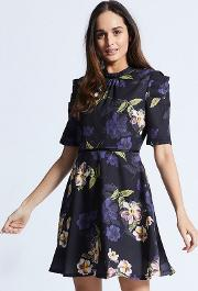 Navy Floral Dress With Ruffles Half Sleeves