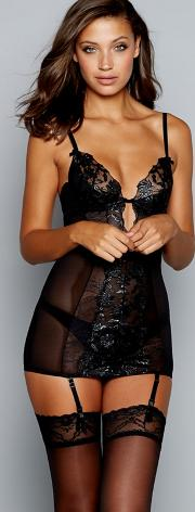 Black Floral Embroidered Mesh celia Underwired Padded Suspender Camisole