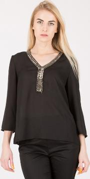 Black Embroidered Neck Blouse