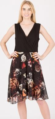 Black Floral Chiffon Skirt Jersey Dress