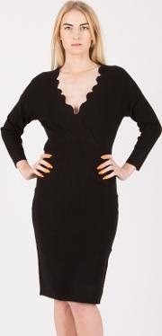Black Scallop Overlap Dress