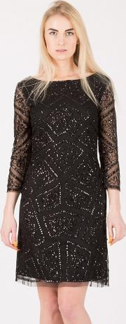 Black Sequin Embellished Mini Dress