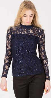Dark Blue High Neck Lace Embroidery Blouse