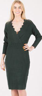 Dark Green Scallop Overlap Dress