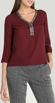 Wine Embroidered Neck Blouse