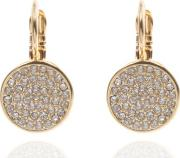 Gold Pave And Crystal Drop Earrings