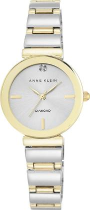 Ladies Silver And Gold Analogue Bracelet Watch Akn2435svtt