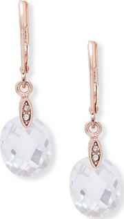 Rose Gold social Faceted Cubic Zarconia Drop Earrings