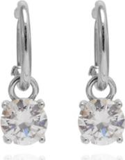 Silver Plated Hoop Earring With Cubic Zirconia Drop