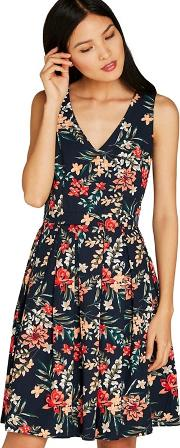 Navy Brushstroke Floral Print Dress
