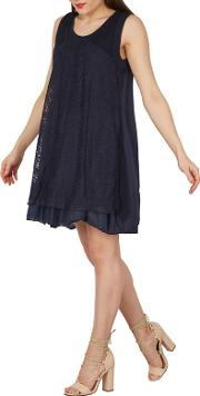 Navy Floral Mesh Layered Tunic Dress