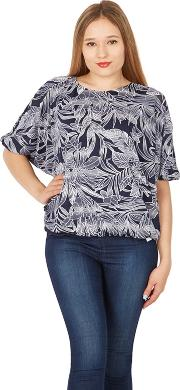 Navy Palm Print Batwing Top