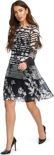 Black And White cassia Floral Stripe Print Shift Dress