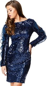 Navy hasara Sequin Frilled Long Sleeve Knee Length Dress
