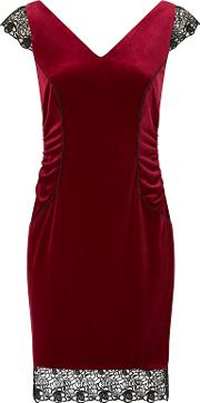 Red tiana Velvet Lace Pencil Dress