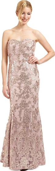 Rose Sequined Lace amara Evening Dress