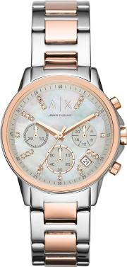 Ladies Silver And Rose Gold Chronograph Watch Ax4331