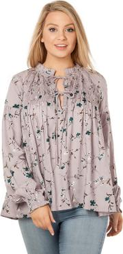 Lilac Tie Front Smock Floral Blouse