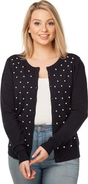 Navy Embroidered Spot Cardigan