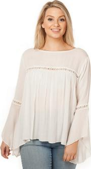 Off White Flare Sleeves Lace Trim Blouse