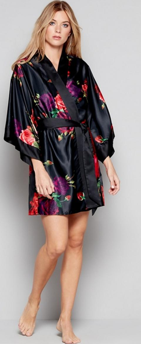B By Ted Baker Black Floral Print Satin Juxtapose Rose Dressing Gown
