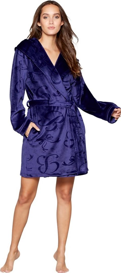B By Ted Baker Blue Embossed Fleece Dressing Gown Obsessory