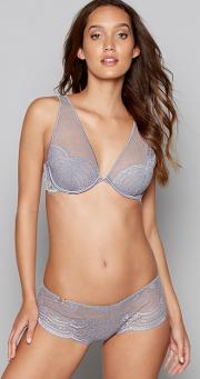 Grey Lace Underwired Non Padded Full Cup Bra