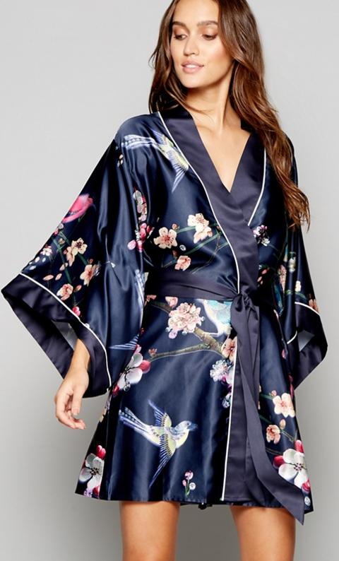 B By Ted Baker Navy Bird Print Satin Flight Of The Orient Dressing