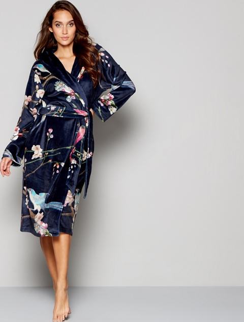 B By Ted Baker Navy Floral Print Fleece Dressing Gown Obsessory