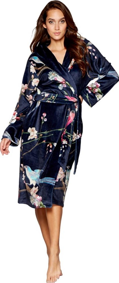 b by ted baker Navy Floral Print Fleece Dressing Gown | Obsessory