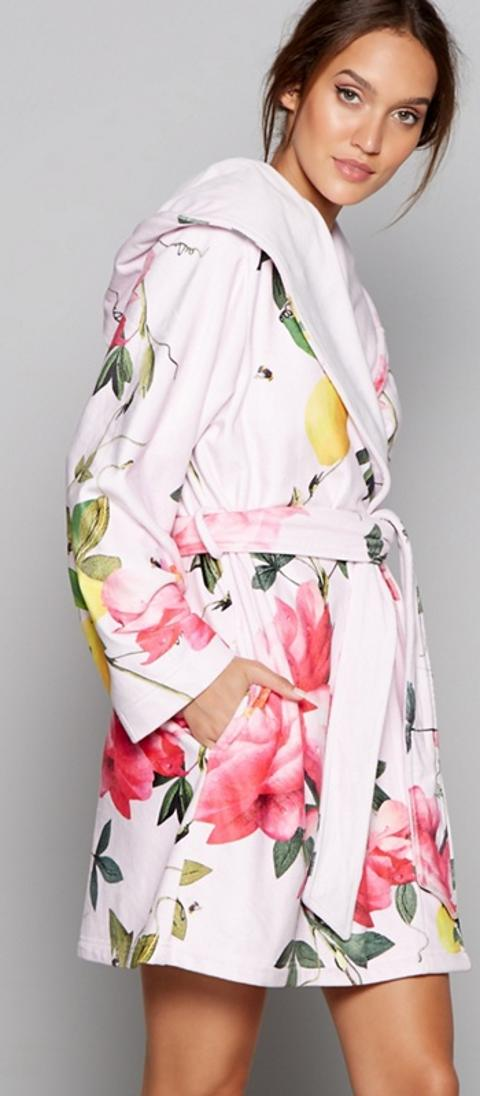 B By Ted Baker Pink Floral Print Citrus Bloom Dressing Gown Obsessory