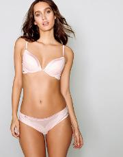Pink Lace Satin Underwired Padded Plunge Bra