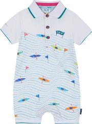 2a960a26edf1 baby Boys Multi Coloured Canoe Print Romper Suit. baker by ted baker