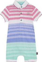 baby Boys Multi Coloured Textured Striped Short Sleeve Romper Suit