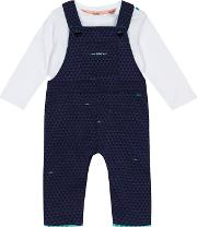 Baby Boys Navy Textured Triangle Dungarees And White Top Set