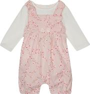Baby Girls Light Pink Floral Print Romper Suit And White Top Set