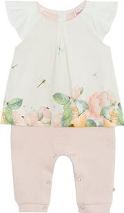 Baby Girls Light Pink Floral Print Top And Bottoms Set