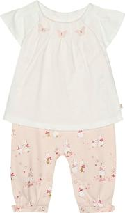 2adafd1f3 Baby Girls Off White And Pink Bunny Print Mock Romper Suit. baker by ted  baker