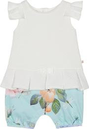 3659a28fc Baby Girls White And Aqua Floral Print Mock Romper Suit. baker by ted baker