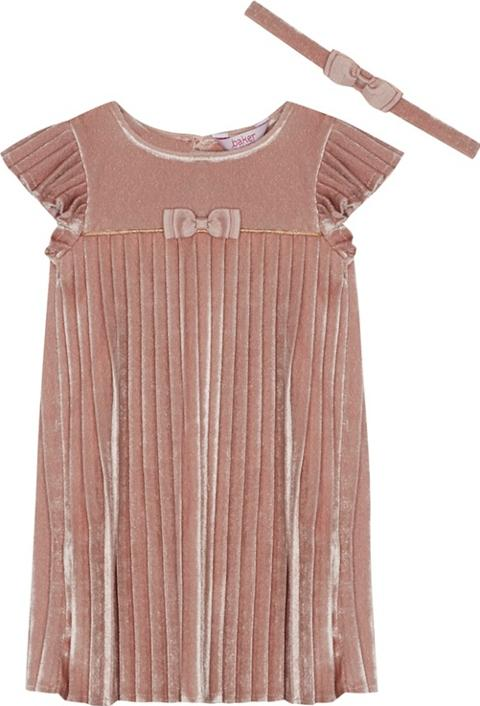 ceff53bf5dc7cc Girls Pink Velvet Pleated Dress And Headband Set. Follow baker by ted baker  Follow debenhams