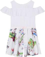 0d01ff6f210 girls White Floral Print Playsuit. baker by ted baker