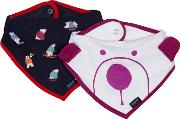 Pack Of Two Babies White And Navy Polar Bear Print Bibs