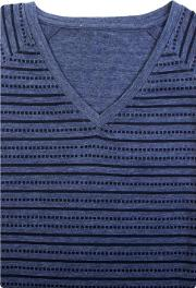 Blue Printed Stripe V Neck T Shirt