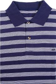 Blue Stripe Cotton Polo Shirt