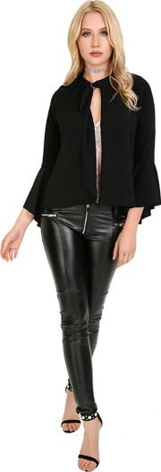 Black Frill Long Sleeve Open Front Cardigan