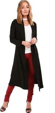 Black Waterfall Open Trench Floaty Cardigan
