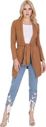 Camel Full Sleeved Open Front Belted Cardigan